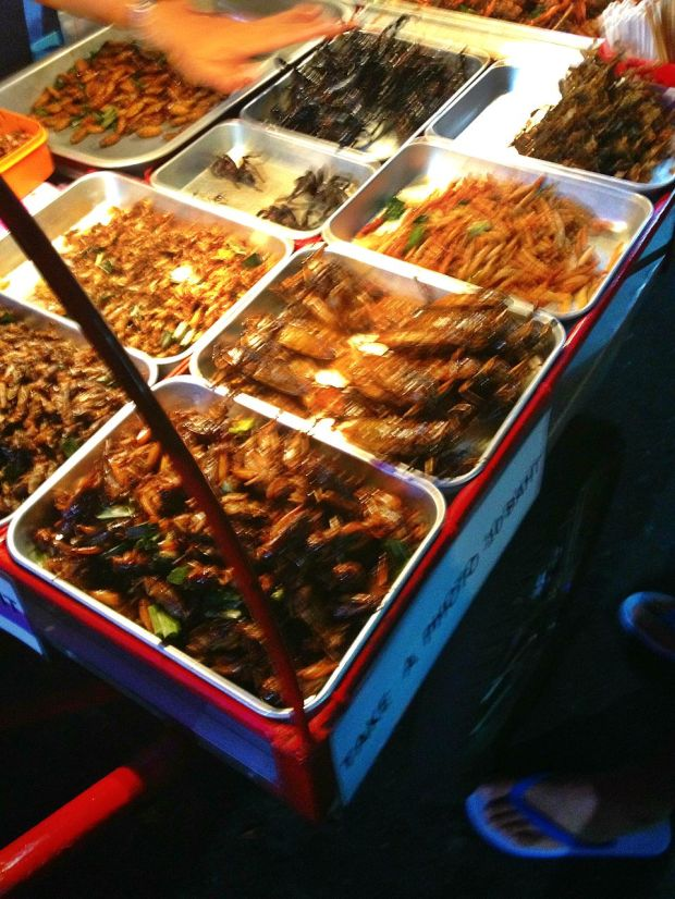 crickets. 10 baht for picture taking (that explains the blurry part of this photo)